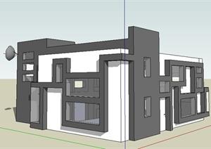 现代风格卫视中心办公楼建筑设计SU(草图大师)模型