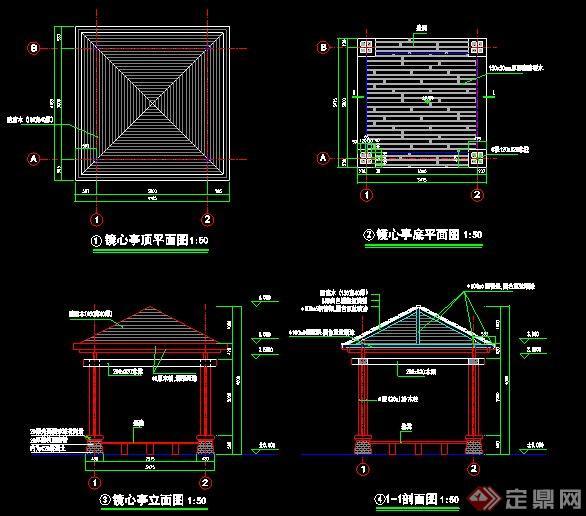 现代风格钢架木亭施工图图片