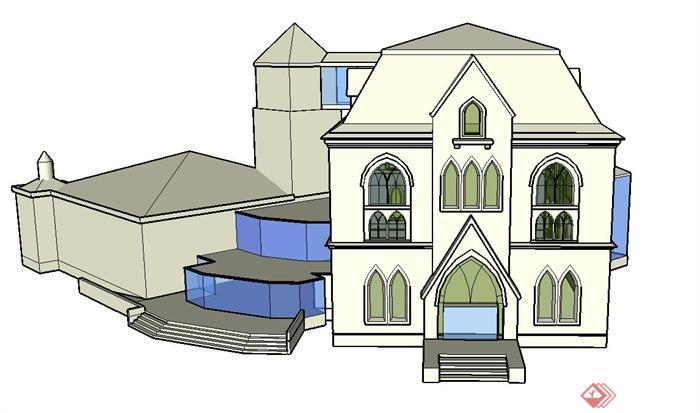 某两层行政办公楼建筑设计su模型