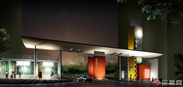 现代风格住宅小区景观效果图(含大门)