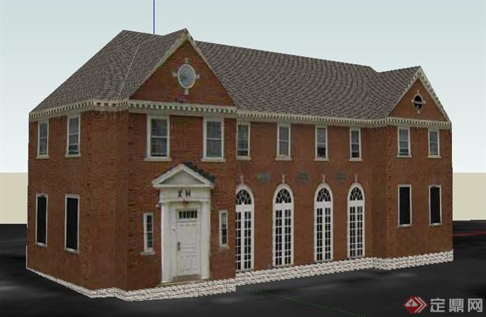 欧式风格二层民居住宅建筑设计su模型