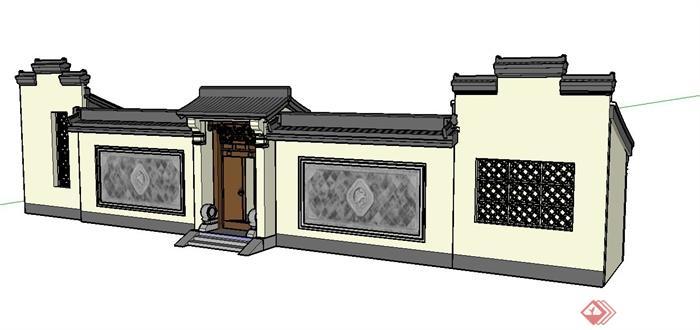 古典中式门和围墙设计su模型