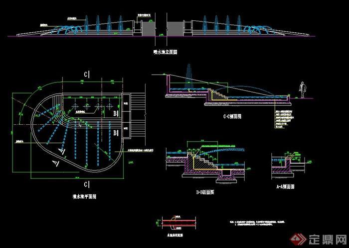 现代喷泉水池设计CAD施工图
