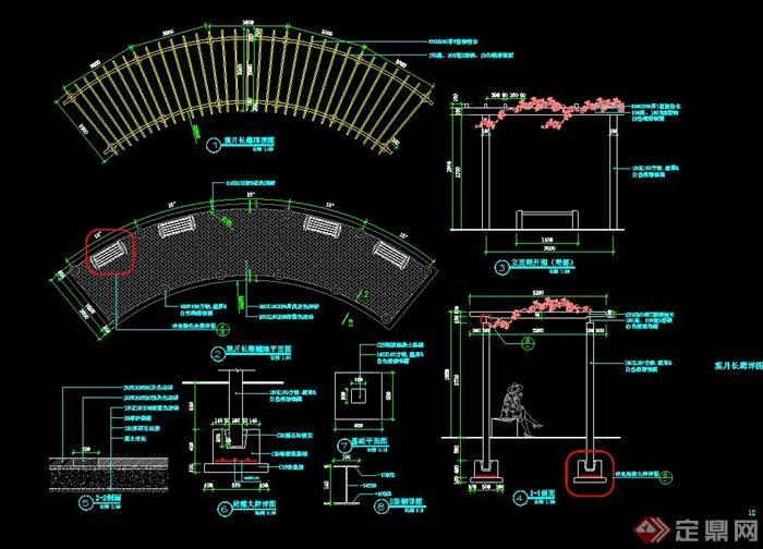 观月弧形长廊设计cad施工图