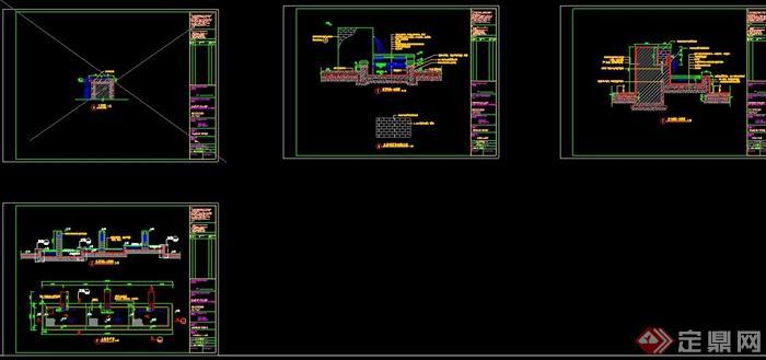 某堵水景墙设计CAD施工图