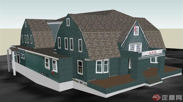 三层民房住宅小别墅建筑设计su模型