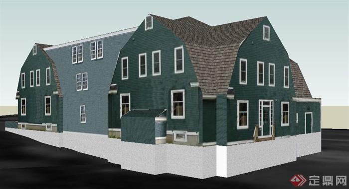 三层民房住宅小别墅建筑设计su模型图片