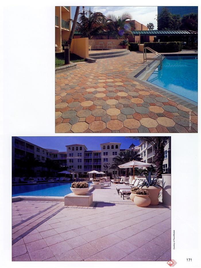 泳池,泳池铺装,地面铺装,泳池景观,地砖铺装,花池,伞椅