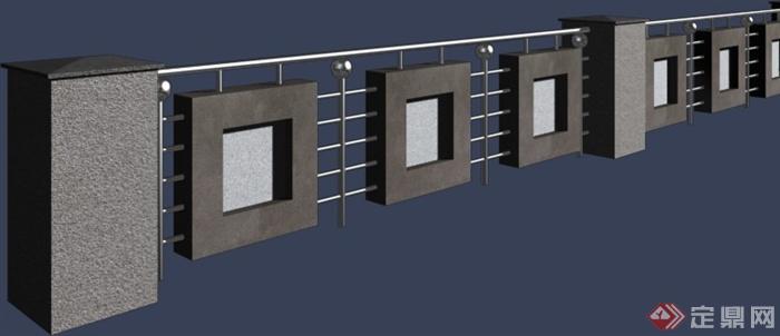 现代特色围墙设计3dmax模型