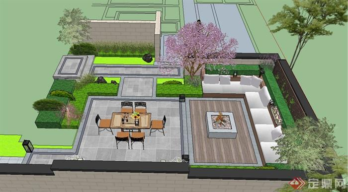 某现代风格别墅庭院景观设计su模型