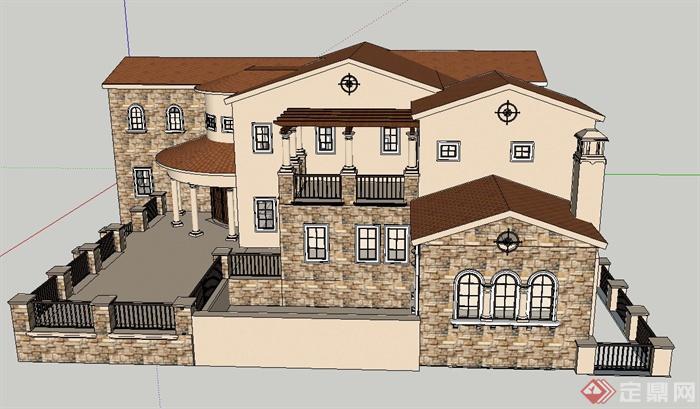某两层西班牙风格别墅建筑设计su模型