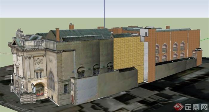 欧式风格展览馆博物馆建筑设计su模型