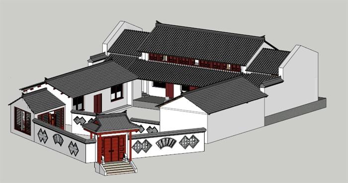现代中式四合院住宅建筑设计su模型,建筑设计美观,模型制作比较细致,包括大门、围墙、茶室、厢房,附带简洁材质贴图,具有一定参考价值。