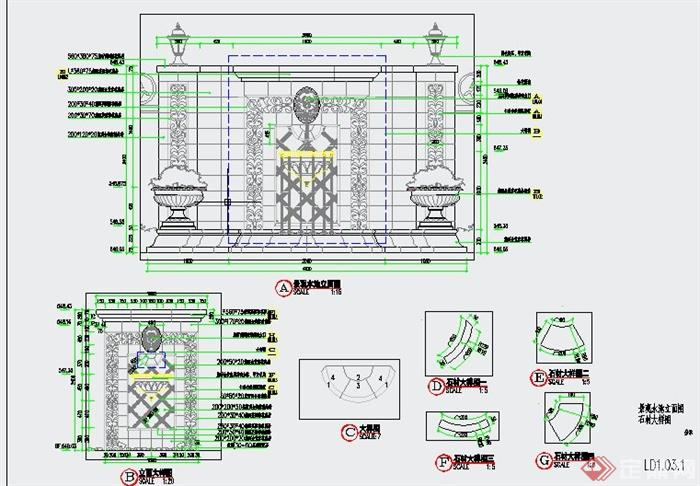 园林景观水体景观设计cad施工图