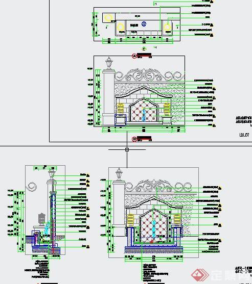 园林景观水景墙设计CAD施工图