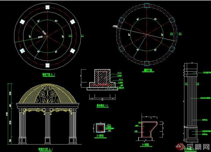 欧式观景亭设计cad施工图