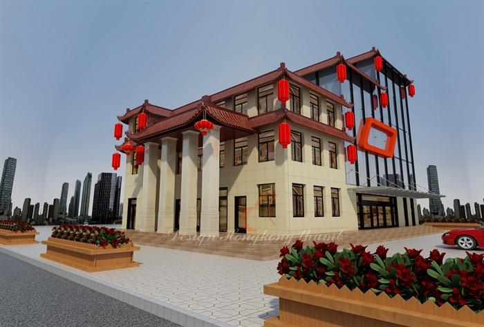现代中式风格酒店建筑效果图[原创]图片