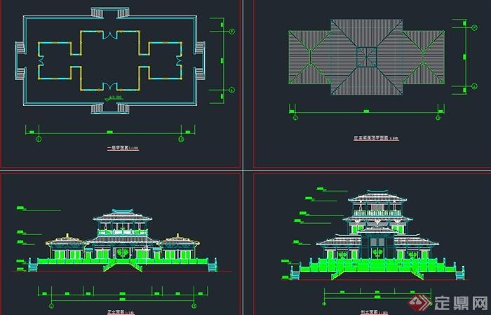 古典中式汉代庄王阁建筑设计cad方案图