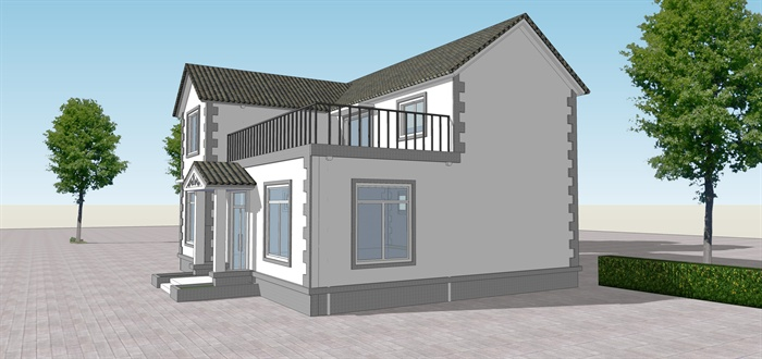简约新中式二层农村别墅su模型