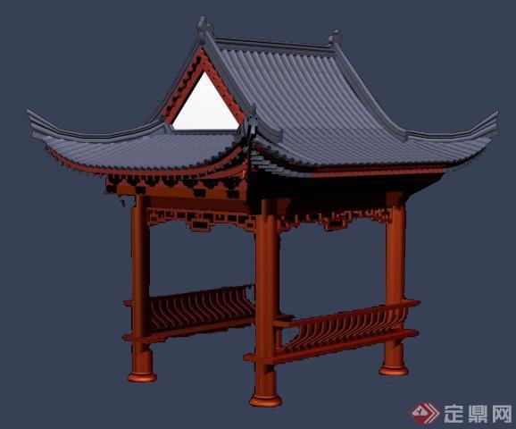 中式简约四角亭设计3dmax模型图片