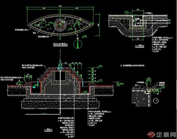 梭形水池设计CAD施工图