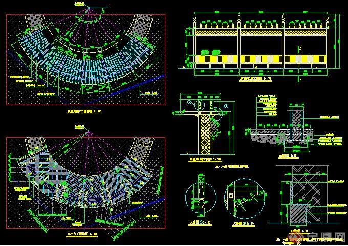 弧形景观廊架施工图