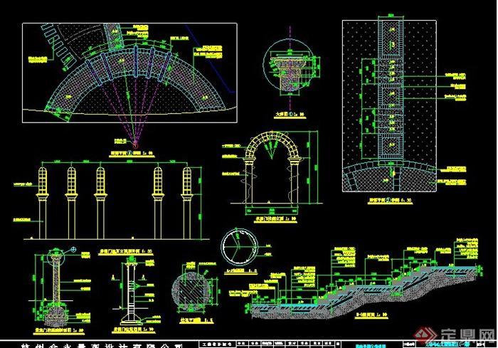 拱形景观门柱施工图