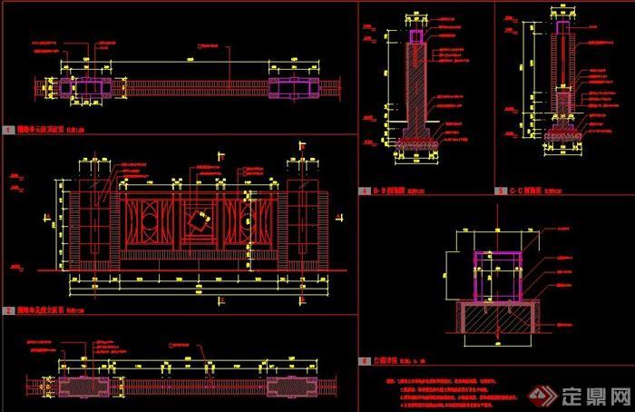 plans]  > 园林景观陶砖围墙施工图,图纸包括立面图,平面图,剖面图,大图片