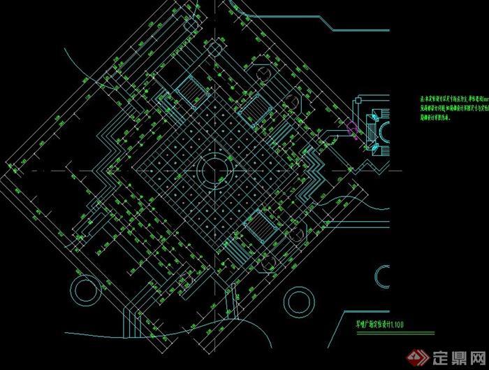 一套旱喷广场设计cad施工图