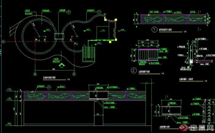 园林景观游乐场设计CAD施工图cad颜色线标注的什么图片