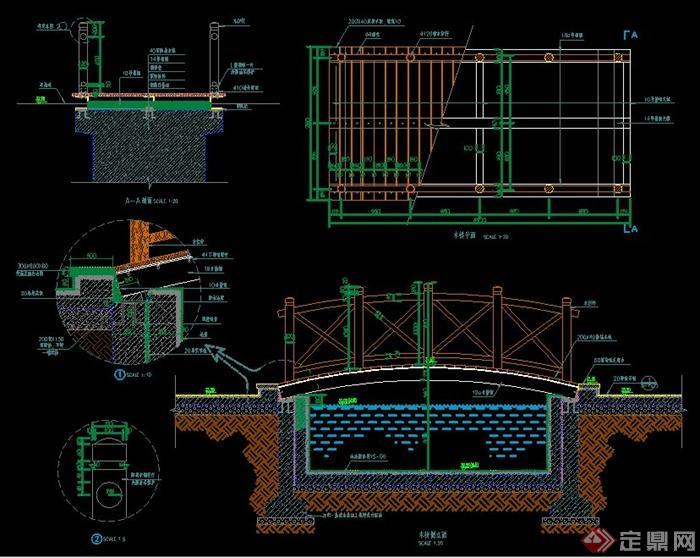 > 园林景观小木桥施工图纸,图纸包括平面及钢支撑平面,剖面图,节点