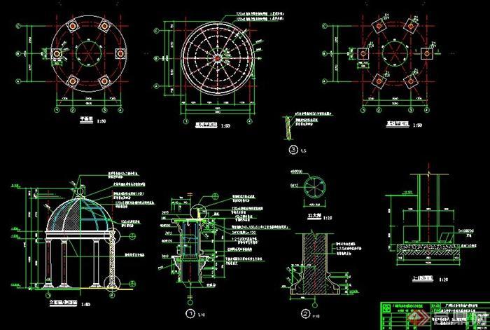 plans]  > 欧式圆顶罗马亭施工图,图纸包括立面图,剖面图,平面图,基础