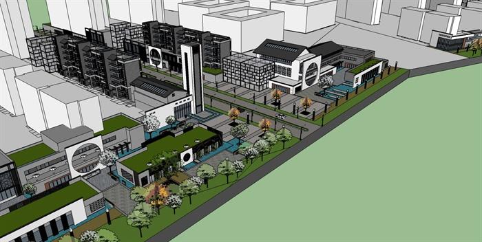 某新中式商业街综合建筑设计su模型(1)图片