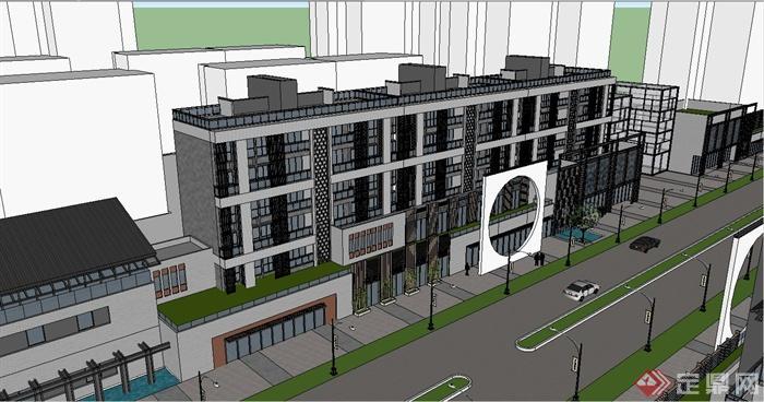 某新中式商业街综合建筑设计su模型(2)图片