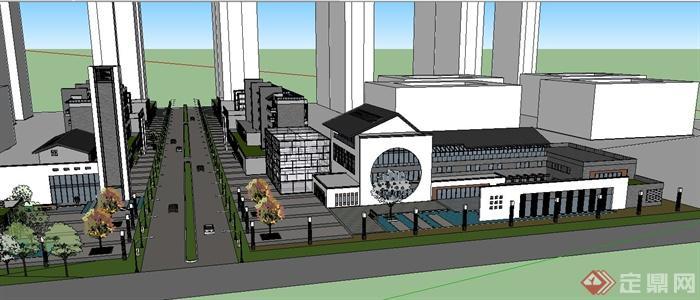 某新中式商业街综合建筑设计su模型(3)图片