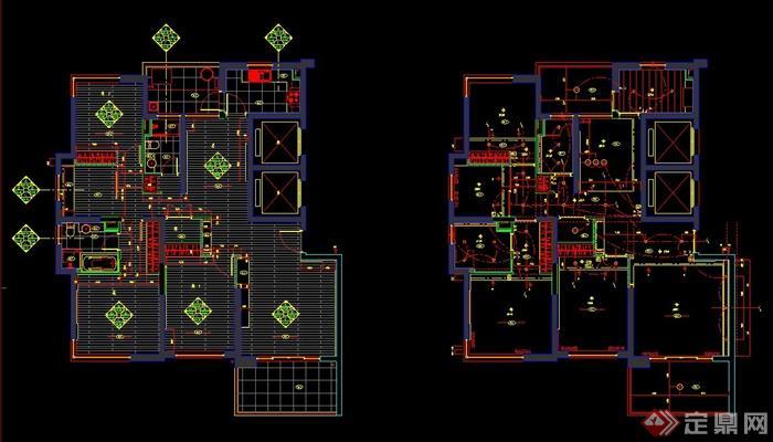某三室一厅公寓室内装修设计cad施工图