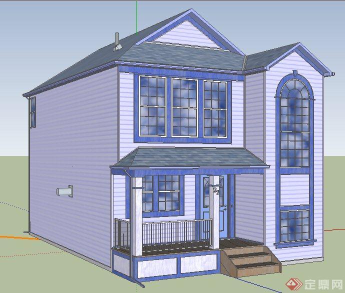 现代双层民房别墅住宅建筑设计su模型