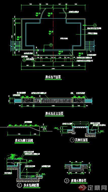 跌水池设计CAD施工图