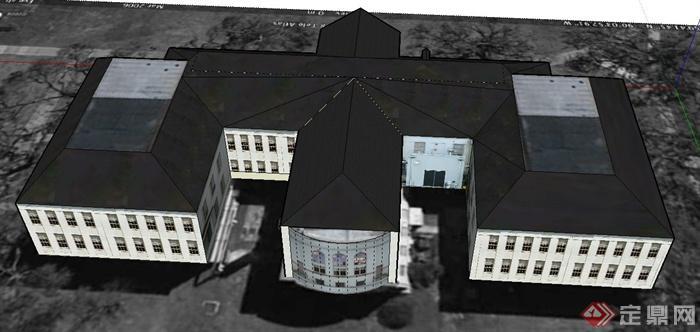 某欧式两层教学楼建筑设计su模型
