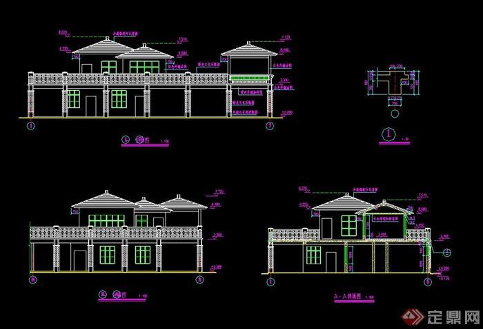 双层茶楼建筑设计CAD施工图图片