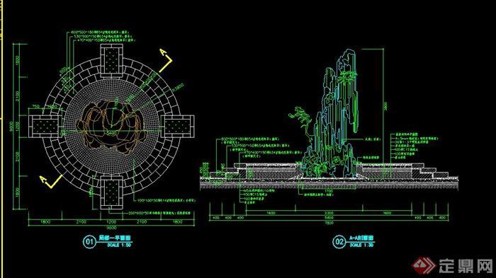 假山制图CAD平剖面图建筑cad设计图片