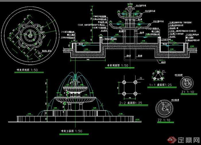 现代喷泉设计CAD施工图