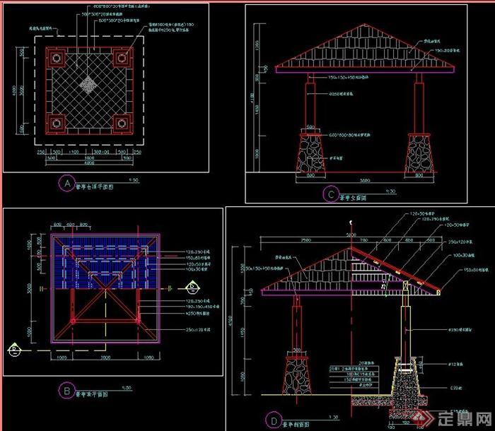 景观凉亭施工图纸,包括平面图