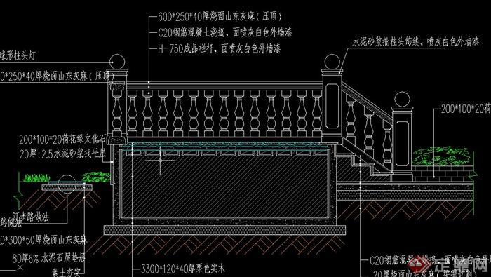 园林景观景墙 水池等设计CAD施工图