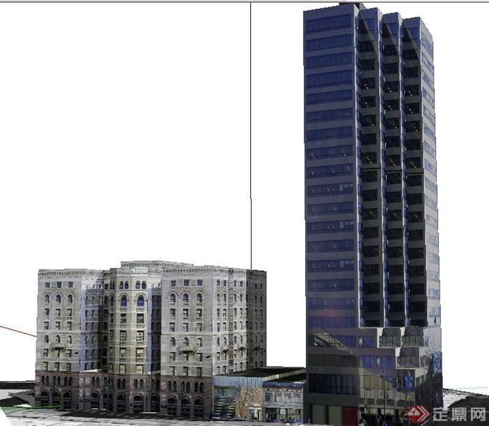 欧式及现代商业办公建筑设计su模型