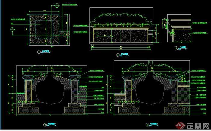 plans]  > 园林景观矩形树池施工图,图纸包括平面图,立面图,剖面图