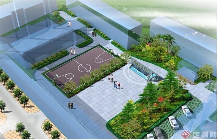 现代风格办公楼前景观方案及效果图