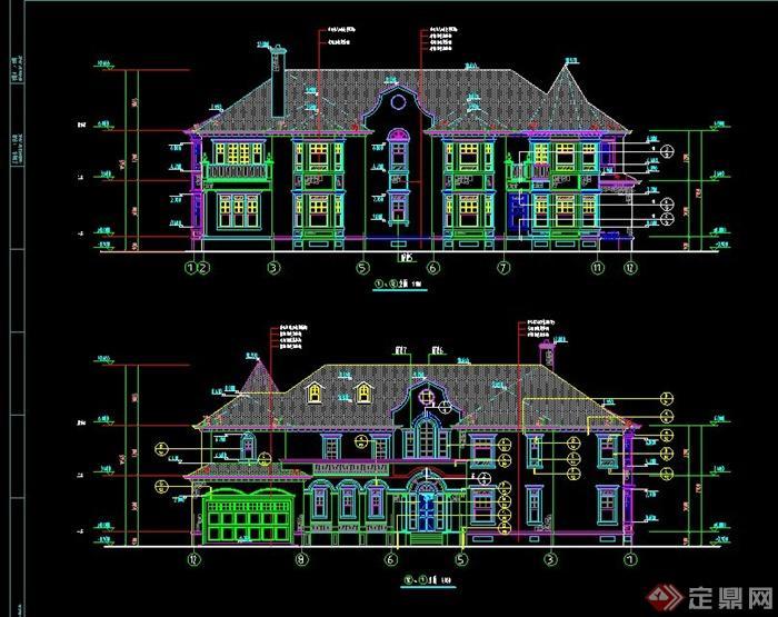 某两层美式带车库别墅建筑设计cad施工图