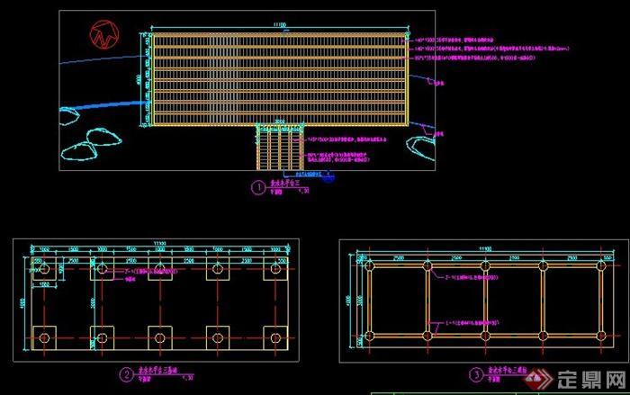三款亲水木平台结构详图