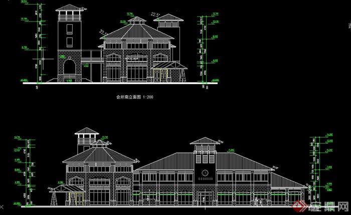 某两层欧式会所建筑设计CAD方案图,该建筑楼层为两层,图纸内容有建筑立面图、楼层平面图等,具有一定的参考价值,有需要的朋友请自行下载。